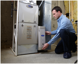 installation of Carrier furnace in Racine county home